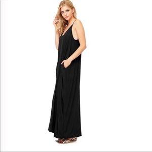 Love Stitch Black Gauze Maxi Dress w Pockets S/M